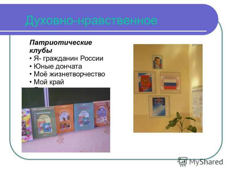 Духовно-нравственное Патриотические клубы Я- гражданин России Юные дончата Моё жизнетворчество Мой край Доноведение