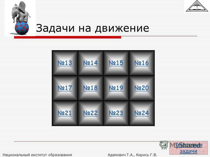 Национальный институт образования Адамович Т.А., Кирись Г.В. Задачи на движение 13141516 17181920 21222324 Текстовые задачи