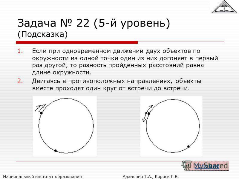 Национальный институт образования Адамович Т.А., Кирись Г.В. Задача 22 (5-й уровень) (Подсказка) 1. Если при одновременном движении двух объектов по окружности из одной точки один из них догоняет в первый раз другой, то разность пройденных расстояний