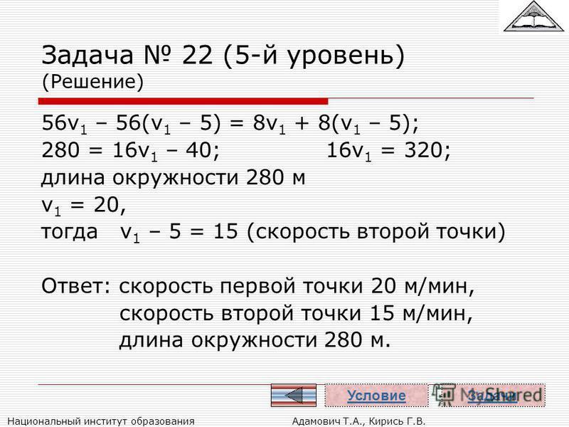 Национальный институт образования Адамович Т.А., Кирись Г.В. Задача 22 (5-й уровень) (Решение) 56v 1 – 56(v 1 – 5) = 8v 1 + 8(v 1 – 5); 280 = 16v 1 – 40;16v 1 = 320; длина окружности 280 м v 1 = 20, тогда v 1 – 5 = 15 (скорость второй точки) Ответ: с