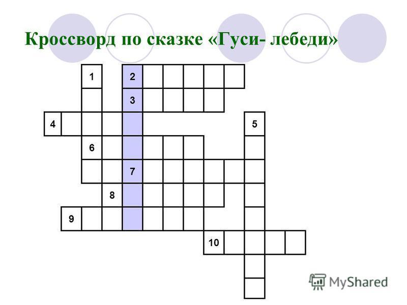 Кроссворд по сказке «Гуси- лебеди» 1 6 4 8 7 2 3 9 5 10