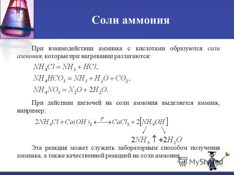 Соли аммония При взаимодействии аммиака с кислотами образуются соли аммония, которые при нагревании разлагаются: При действии щелочей на соли аммония выделяется аммиак, например: Эта реакция может служить лабораторным способом получения аммиака, а та