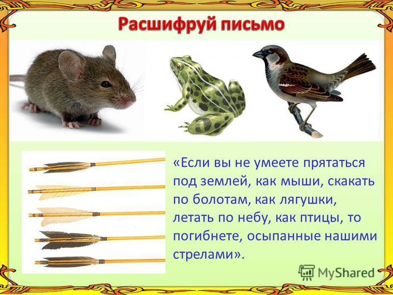 «Если вы не умеете прятаться под землей, как мыши, скакать по болотам, как лягушки, летать по небу, как птицы, то погибнете, осыпанные нашими стрелами».