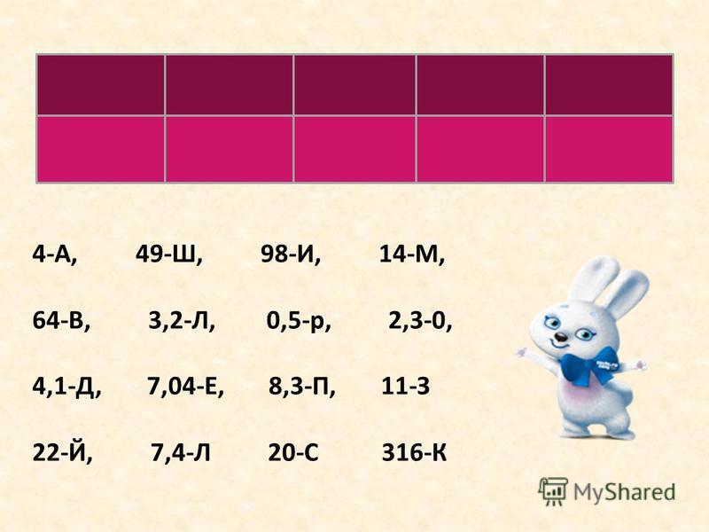 114223164 ЗАЙКА 4-А, 49-Ш, 98-И, 14-М, 64-В, 3,2-Л, 0,5-р, 2,3-0, 4,1-Д, 7,04-Е, 8,3-П, 11-З 22-Й, 7,4-Л 20-С 316-К