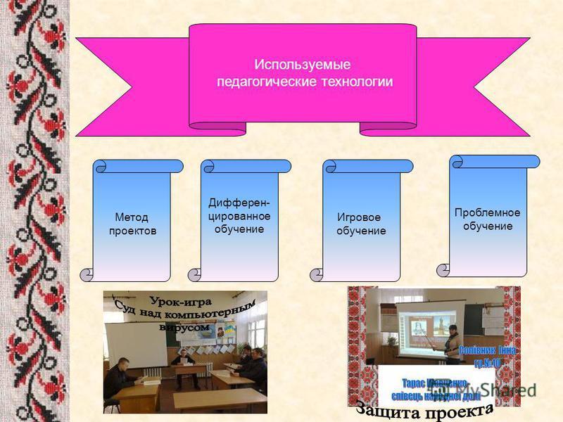 Метод проектов Используемые педагогические технологии Дифферен- цированное обучение Игровое обучение Проблемное обучение
