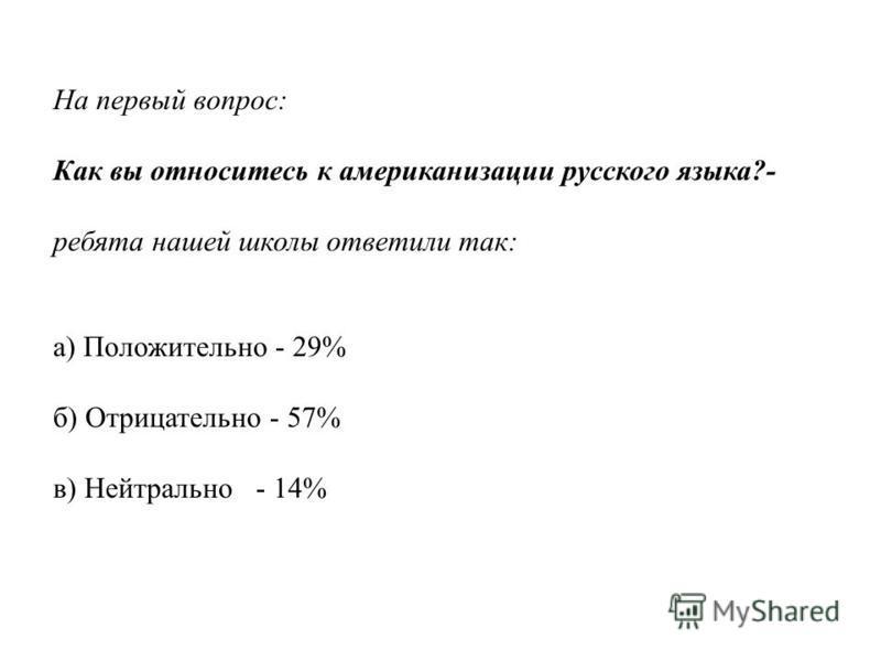 На первый вопрос: Как вы относитесь к американизации русского языка?- ребята нашей школы ответили так: а) Положительно - 29% б) Отрицательно - 57% в) Нейтрально - 14%