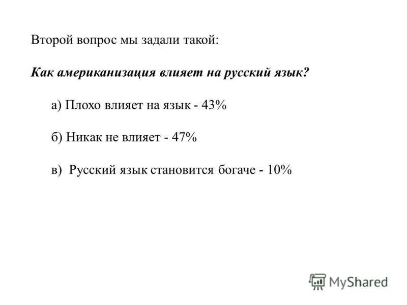 Второй вопрос мы задали такой: Как американизация влияет на русский язык? а) Плохо влияет на язык - 43% б) Никак не влияет - 47% в) Русский язык становится богаче - 10%