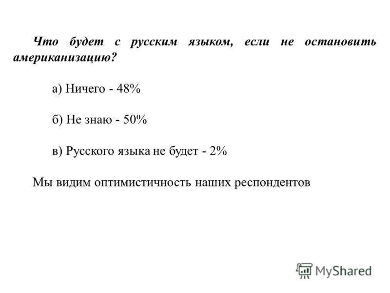Что будет с русским языком, если не остановить американизацию? а) Ничего - 48% б) Не знаю - 50% в) Русского языка не будет - 2% Мы видим оптимистичность наших респондентов