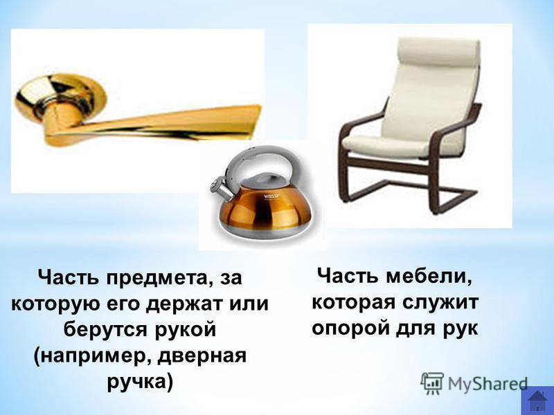 Часть предмета, за которую его держат или берутся рукой (например, дверная ручка) Часть мебели, которая служит опорой для рук