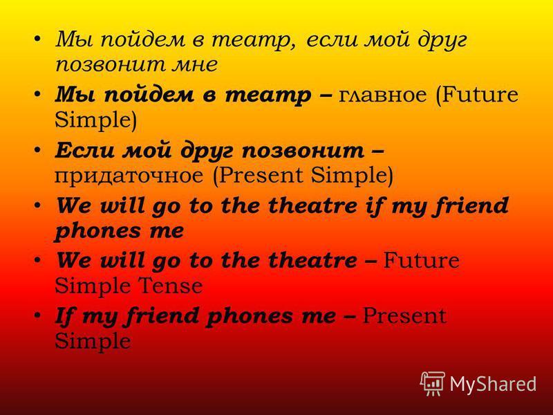 Мы пойдем в театр, если мой друг позвонит мне Мы пойдем в театр – главное (Future Simple) Если мой друг позвонит – придаточное (Present Simple) We will go to the theatre if my friend phones me We will go to the theatre – Future Simple Tense If my fri