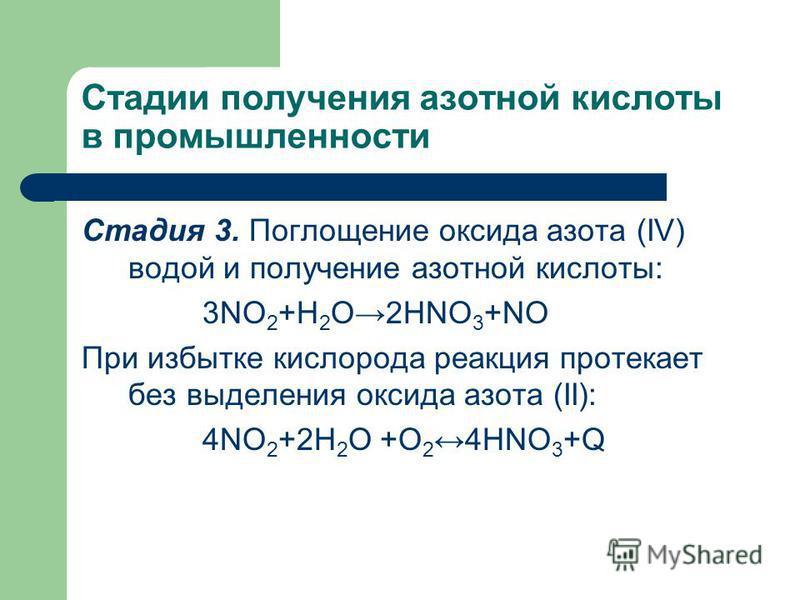 Стадии получения азотной кислоты в промышленности Стадия 3. Поглощение оксида азота (IV) водой и получение азотной кислоты: 3NO 2 +H 2 O2HNO 3 +NO При избытке кислорода реакция протекает без выделения оксида азота (II): 4NO 2 +2H 2 O +O 24HNO 3 +Q