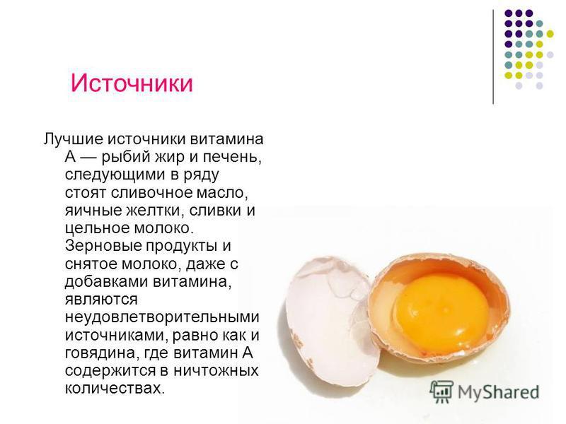Лучшие источники витамина А рыбий жир и печень, следующими в ряду стоят сливочное масло, яичные желтки, сливки и цельное молоко. Зерновые продукты и снятое молоко, даже с добавками витамина, являются неудовлетворительными источниками, равно как и гов