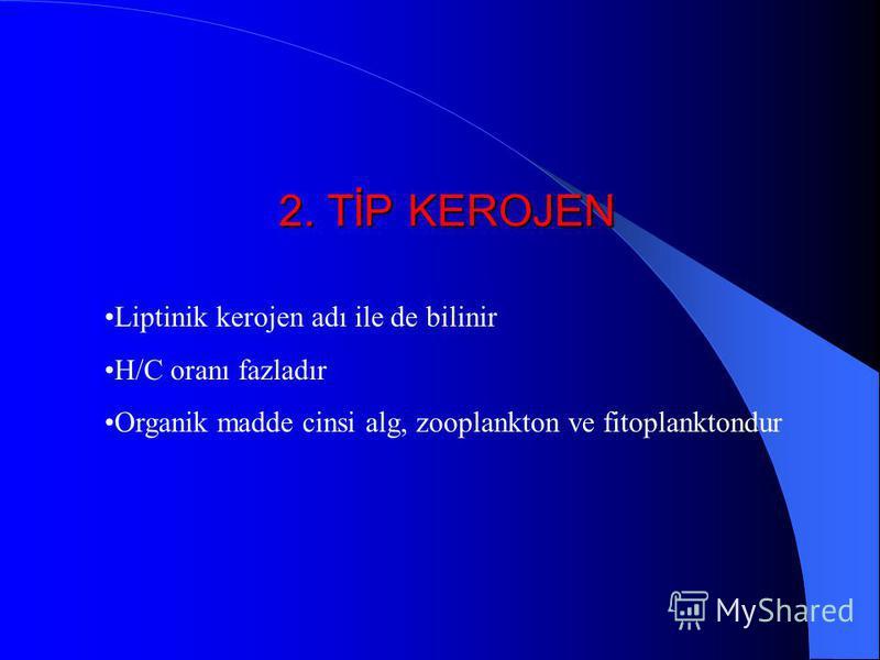 1. TİP KEROJEN Alg kökenlidir. Hidrojen miktarı oksijene oranla en zengin olan kerojendir (H/O =1,2-1,7) Egemen bileşeni lipiddir.