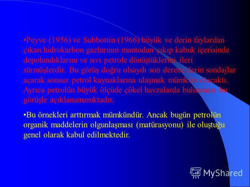 Mendeleev, mantodaki Demir Karbidin yeraltına sızan sularla kimyasal reaksiyona girerek metan ve hidrokarbonları oluşturduğunu ileri sürmüştür. Bu görüş bazı araştırmacılar tarafından hala savunulmaktadır. Bu görüş doğru ise petrolün magmatik kayalar
