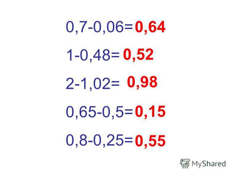 0,7-0,06= 1-0,48= 2-1,02= 0,65-0,5= 0,8-0,25= 0,64 0,52 0,98 0,15 0,55