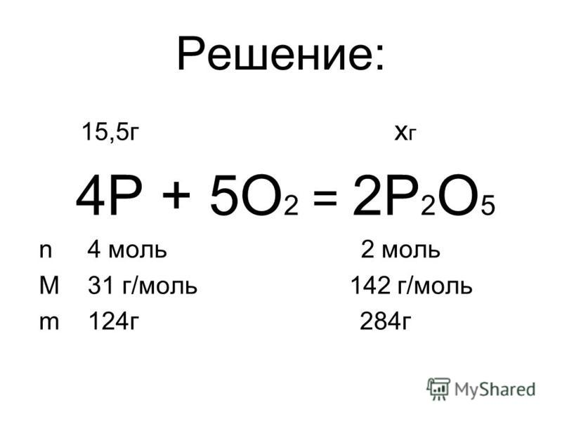 Решение: 15,5 г х г 4P + 5O 2 = 2P 2 O 5 n 4 моль 2 моль M 31 г/моль 142 г/моль m 124 г 284 г