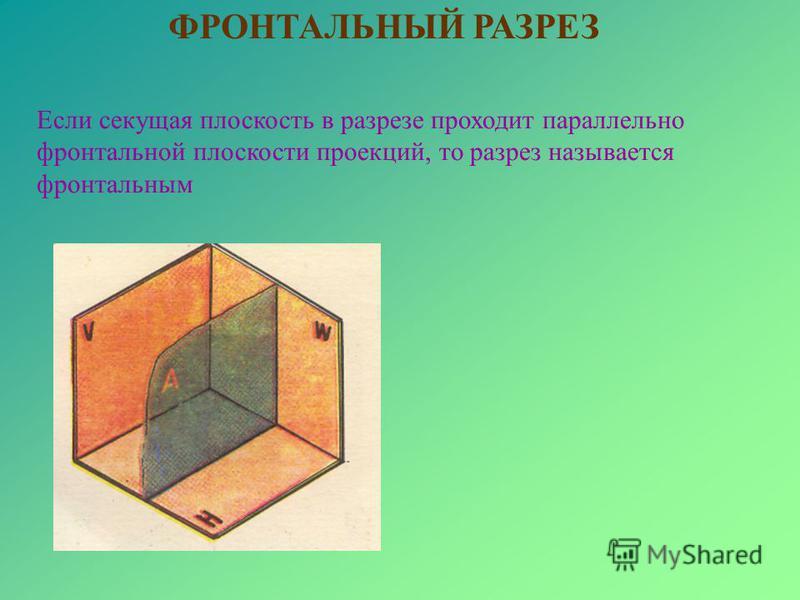 Если секущая плоскость в разрезе проходит параллельно фронтальной плоскости проекций, то разрез называется фронтальным ФРОНТАЛЬНЫЙ РАЗРЕЗ