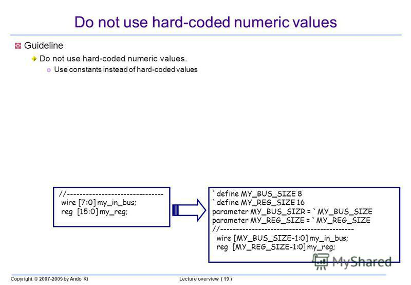 Copyright © 2007-2009 by Ando KiLecture overview ( 19 ) Do not use hard-coded numeric values Guideline Do not use hard-coded numeric values. Use constants instead of hard-coded values //------------------------------- wire [7:0] my_in_bus; reg [15:0]