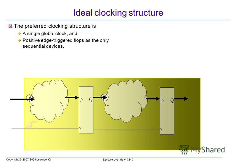Copyright © 2007-2009 by Ando KiLecture overview ( 24 ) Ideal clocking structure The preferred clocking structure is A single global clock, and Positive edge-triggered flops as the only sequential devices. D Q D Q