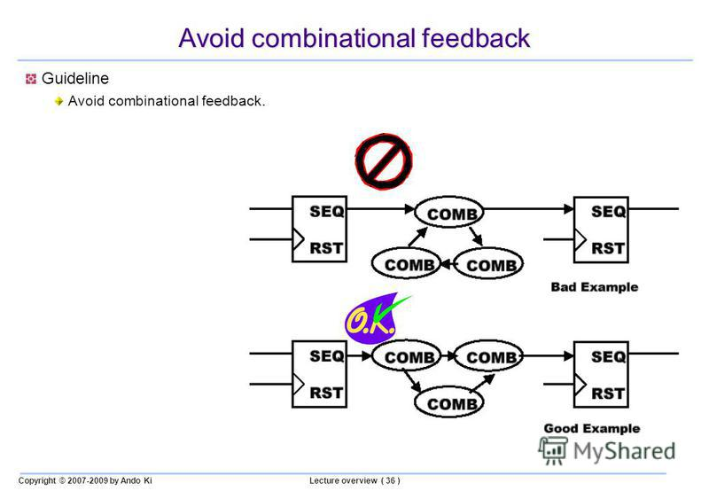Copyright © 2007-2009 by Ando KiLecture overview ( 36 ) Avoid combinational feedback Guideline Avoid combinational feedback.