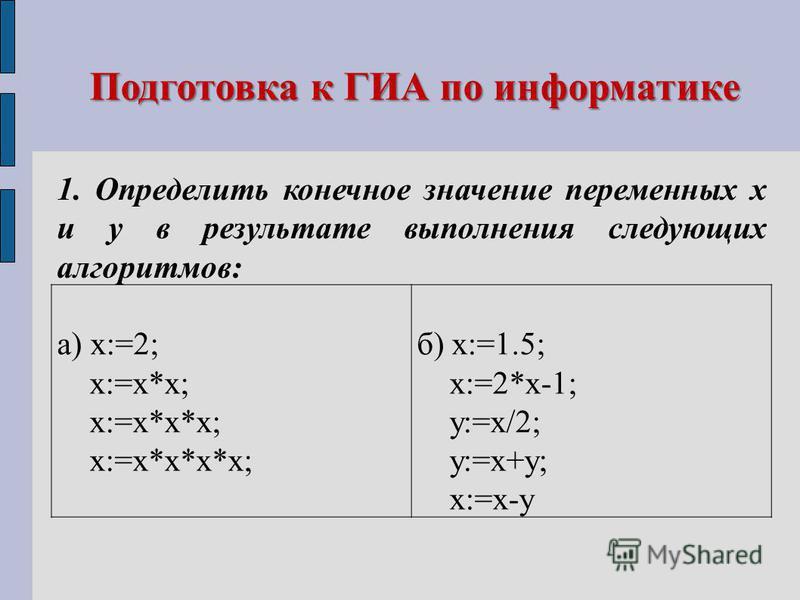 Подготовка к ГИА по информатике 1. Определить конечное значение переменных х и у в результате выполнения следующих алгоритмов: а) х:=2; х:=х*х; х:=х*х*х; х:=х*х*х*х; б) х:=1.5; х:=2*х-1; у:=х/2; у:=х+у; х:=х-у