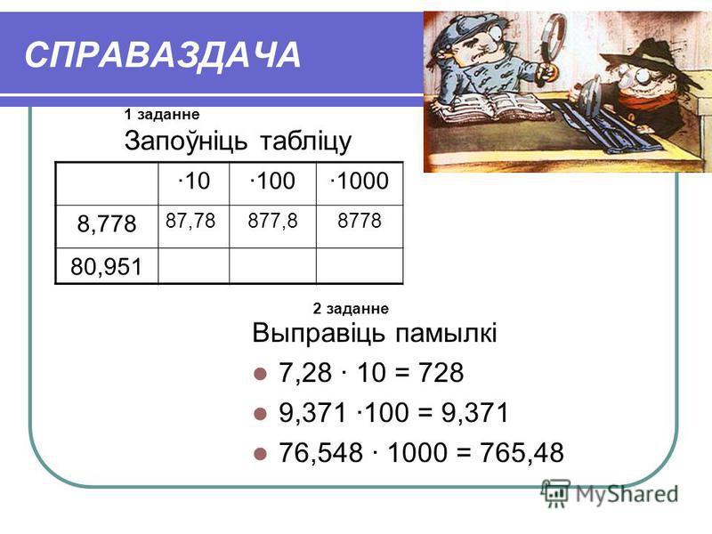 СПРАВАЗДАЧА ·10·100·1000 8,778 87,78877,88778 80,951 Выправіць памылкі 7,28 · 10 = 728 9,371 ·100 = 9,371 76,548 · 1000 = 765,48 1 заданне Запоўніць табліцу 2 заданне