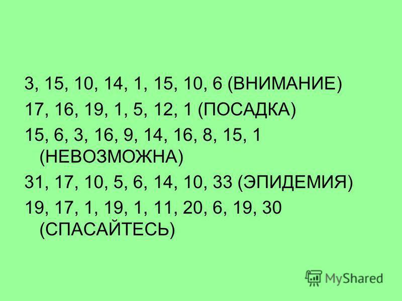 3, 15, 10, 14, 1, 15, 10, 6 (ВНИМАНИЕ) 17, 16, 19, 1, 5, 12, 1 (ПОСАДКА) 15, 6, 3, 16, 9, 14, 16, 8, 15, 1 (НЕВОЗМОЖНА) 31, 17, 10, 5, 6, 14, 10, 33 (ЭПИДЕМИЯ) 19, 17, 1, 19, 1, 11, 20, 6, 19, 30 (СПАСАЙТЕСЬ)