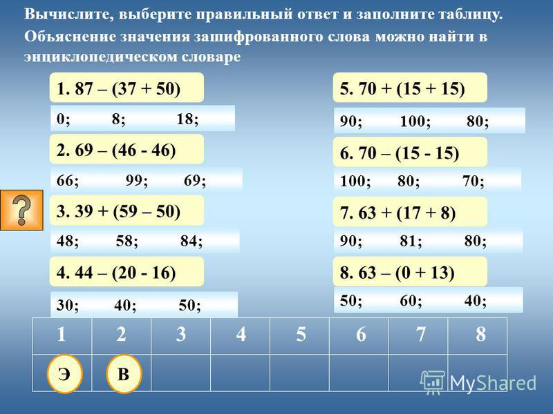 0; 1. 87 – (37 + 50) 12345678 Вычислите, выберите правильный ответ и заполните таблицу. Объяснение значения зашифрованного слова можно найти в энциклопедическом словаре 8;18; 30; 2. 69 – (46 – 46) 40;50; 3. 39 + (59 - 50) 4. 44 – (20 - 16) 5. 70 + (1