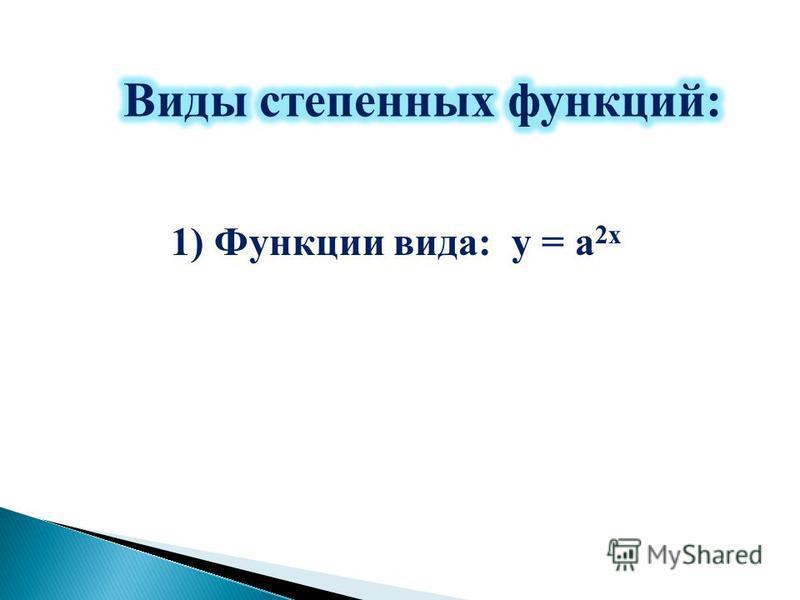 1) Функции вида: у = а 2 х