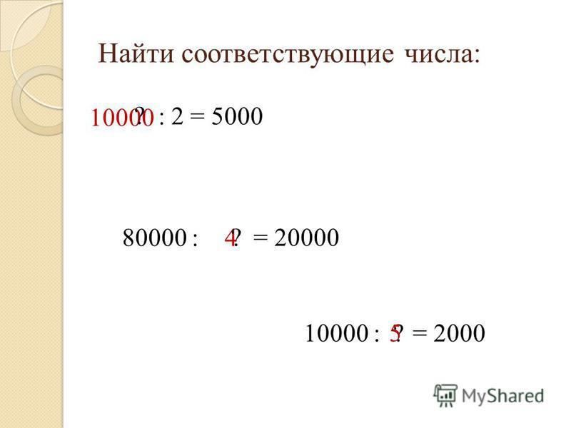 Найти соответствующие числа: 10000 ? : 2 = 5000 80000 : 4 = 20000? 10000 :?= 20005