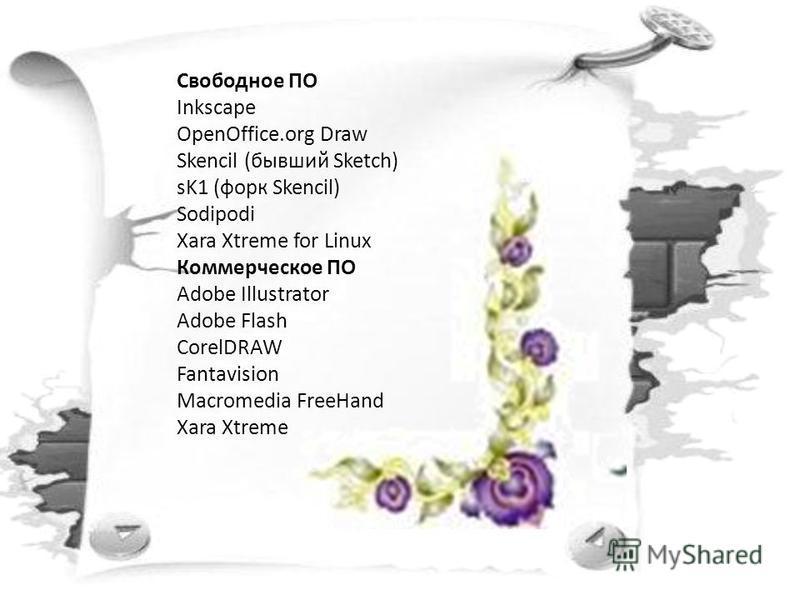 Свободное ПО Inkscape OpenOffice.org Draw Skencil (бывший Sketch) sK1 (форд Skencil) Sodipodi Xara Xtreme for Linux Коммерческое ПО Adobe Illustrator Adobe Flash CorelDRAW Fantavision Macromedia FreeHand Xara Xtreme