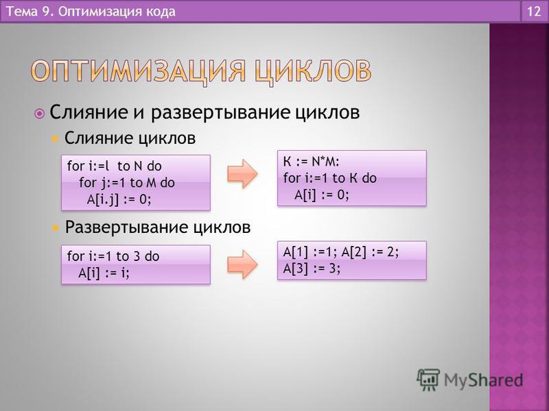Слияние и развертывание циклов Слияние циклов Тема 9. Оптимизация кода 12 for i:=l to N do for j:=1 to M do A[i.j] := 0; for i:=l to N do for j:=1 to M do A[i.j] := 0; К := N*M: for i:=1 to К do A[i] := 0; К := N*M: for i:=1 to К do A[i] := 0; Развер