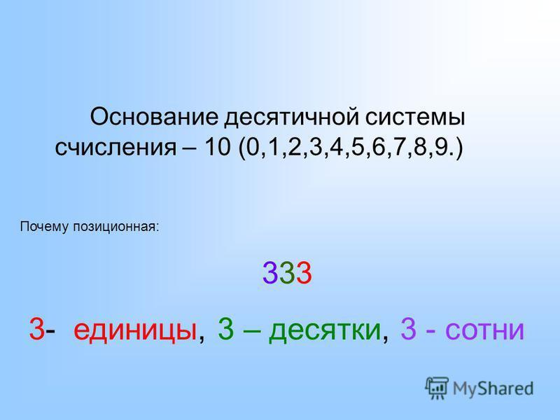 Основание десятичной системы счисления – 10 (0,1,2,3,4,5,6,7,8,9.) Почему позиционная: 333 3- единицы, 3 – десятки, 3 - сотни