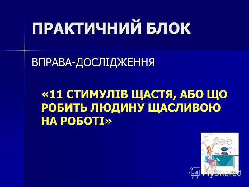 ПРАКТИЧНИЙ БЛОК ВПРАВА-ДОСЛІДЖЕННЯ «11 СТИМУЛІВ ЩАСТЯ, АБО ЩО РОБИТЬ ЛЮДИНУ ЩАСЛИВОЮ НА РОБОТІ» «11 СТИМУЛІВ ЩАСТЯ, АБО ЩО РОБИТЬ ЛЮДИНУ ЩАСЛИВОЮ НА РОБОТІ»