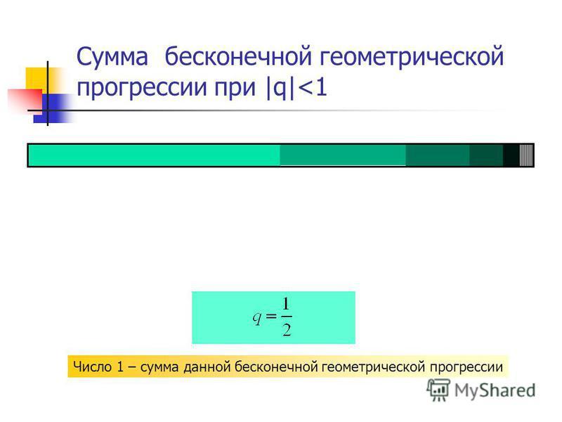 Сумма бесконечной геометрической прогрессии при |q|<1 Число 1 – сумма данной бесконечной геометрической прогрессии