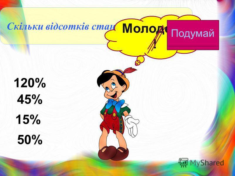 Скільки відсотків становить 36 від 80 Молодець ! 50% 120% 45% 15% Подума й
