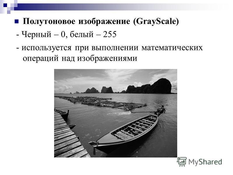 Полутоновое изображение (GrayScale) - Черный – 0, белый – 255 - используется при выполнении математических операций над изображениями