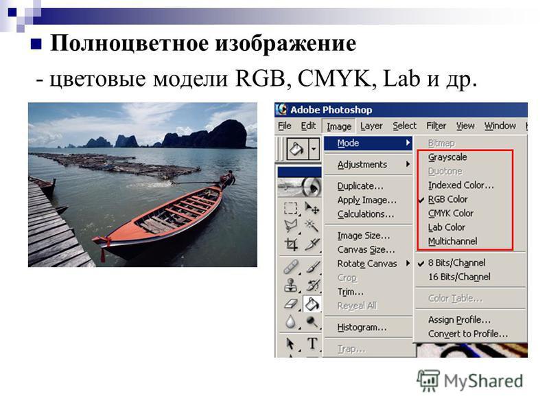 Полноцветное изображение - цветовые модели RGB, CMYK, Lab и др.
