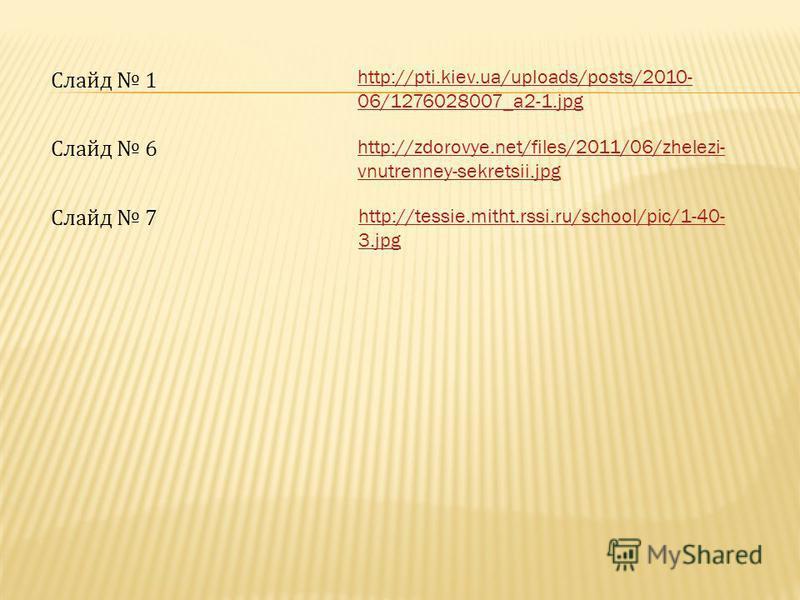 http://pti.kiev.ua/uploads/posts/2010- 06/1276028007_a2-1. jpg Слайд 1 http://zdorovye.net/files/2011/06/zhelezi- vnutrenney-sekretsii.jpg Слайд 6 http://tessie.mitht.rssi.ru/school/pic/1-40- 3. jpg Слайд 7