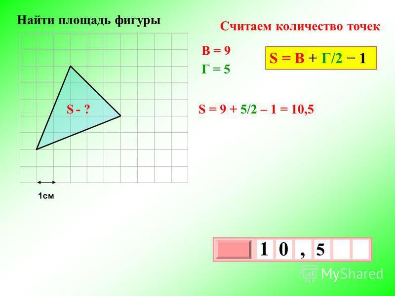 1 см 3 х 1 0 х 5 1 0, S - ? Найти площадь фигуры В = 9 Г = 5 S = 9 + 5/2 – 1 = 10,5 Считаем количество точек S = В + Г/2 1