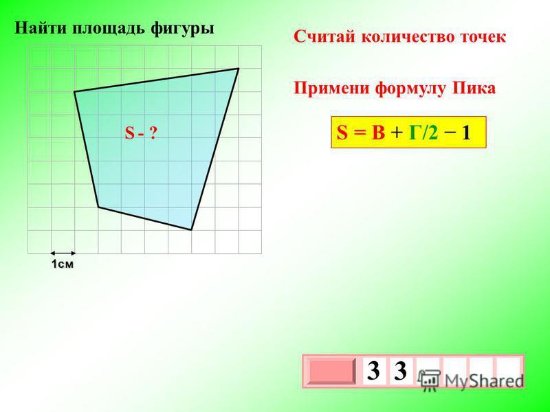 1 см 3 х 1 0 х 3 3 S - ? Найти площадь фигуры Примени формулу Пика Считай количество точек S = В + Г/2 1