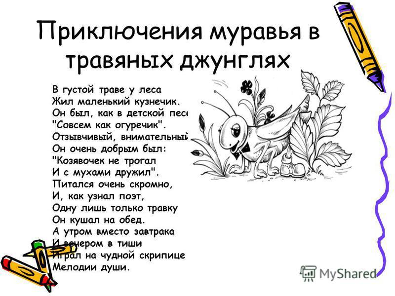 В густой траве у леса Жил маленький кузнечик. Он был, как в детской песенке: