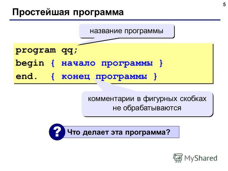 5 Простейшая программа program qq; begin { начало программы } end. { конец программы } program qq; begin { начало программы } end. { конец программы } комментарии в фигурных скобках не обрабатываются Что делает эта программа? ? название программы