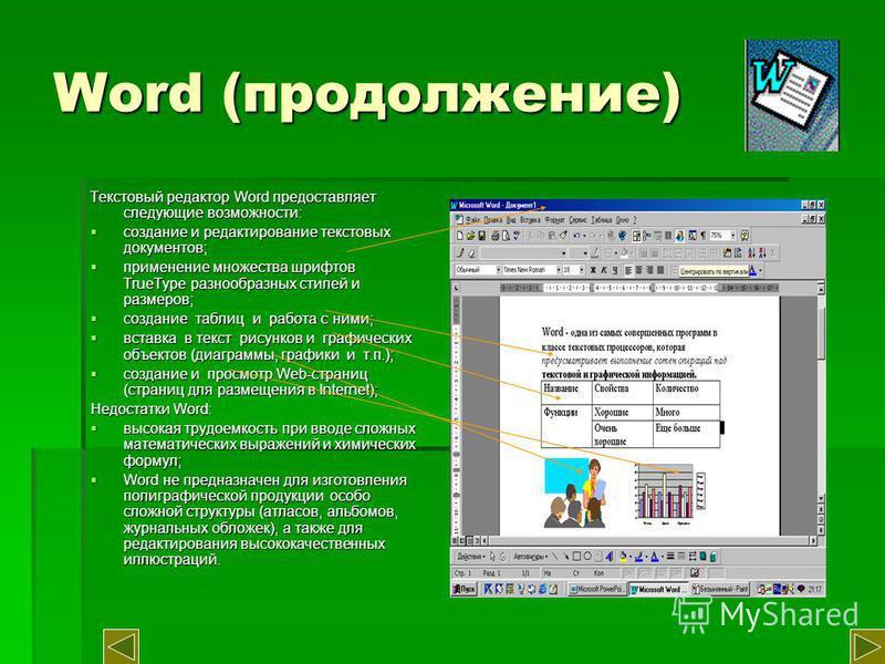 Word (продолжение) Текстовый редактор Word предоставляет следующие возможности: создание и редактирование текстовых документов; создание и редактирование текстовых документов; применение множества шрифтов TrueType разнообразных стилей и размеров; при