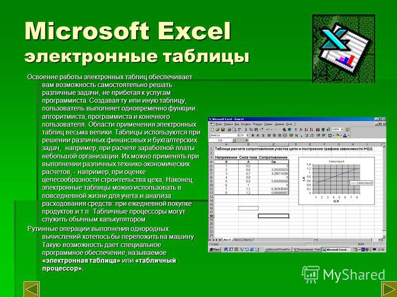Microsoft Excel электронные таблицы Освоение работы электронных таблиц обеспечивает вам возможность самостоятельно решать различные задачи, не прибегая к услугам программиста. Создавая ту или иную таблицу, пользователь выполняет одновременно функции