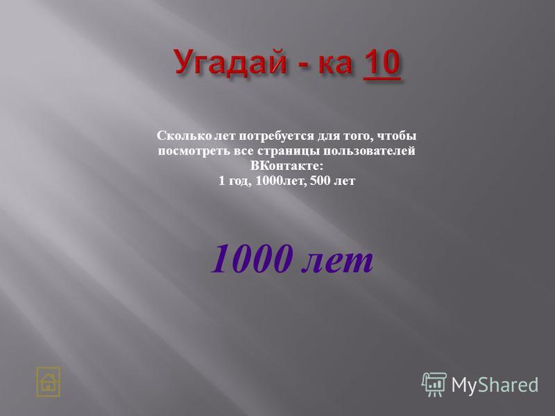 Сколько лет потребуется для того, чтобы посмотреть все страницы пользователей ВКонтакте: 1 год, 1000 лет, 500 лет 1000 лет