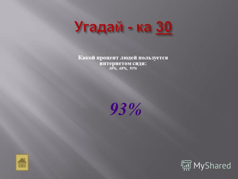 Какой процент людей пользуется интернетом сидя: 50%, 68%, 93% 93%