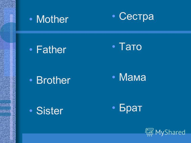 Mother Father Brother Sister Сестра Тато Мама Брат