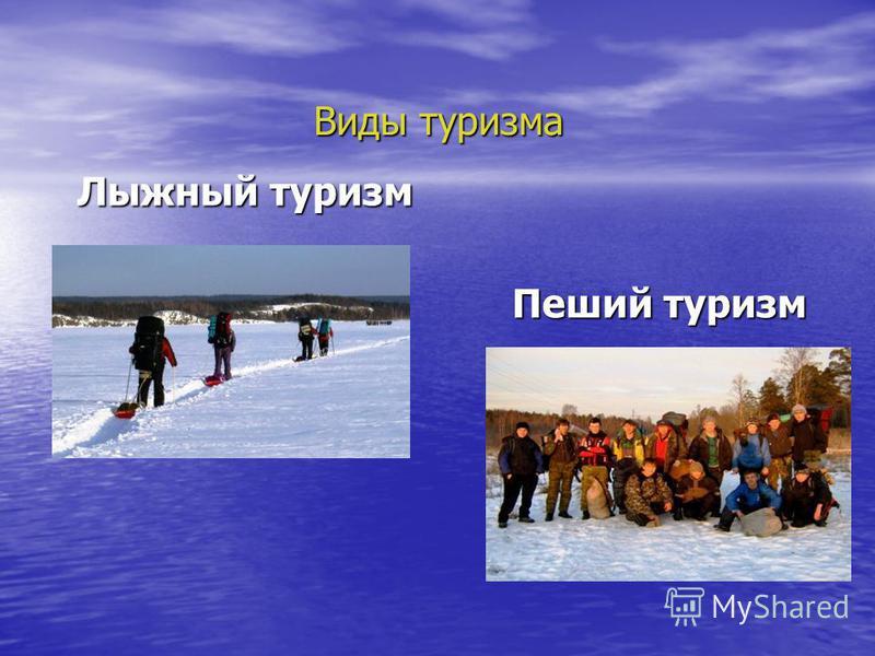 Виды туризма Лыжный туризм Лыжный туризм Пеший туризм Пеший туризм