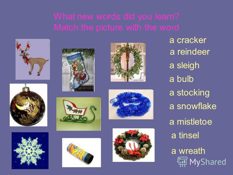 What new words did you learn? Match the picture with the word a reindeer a stocking a bulb a sleigh a snowflake a tinsel a mistletoe a cracker a wreath